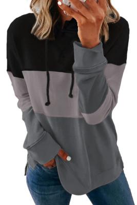 Pull à capuche décontracté noir avec cordon de serrage et rayures