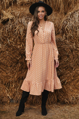 Apricot Button Polka Dot High Slit Ruffled Midi Dress