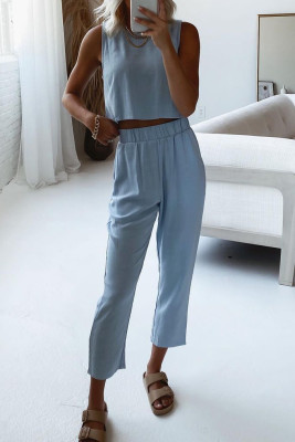 Blue Crop Tank and Pants Lounge Set