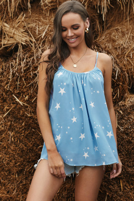 Sky Blue Star Print Spaghetti Strap Pleated Flowing Tank Top