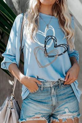 بلوزة طويلة الأكمام بطبعة قلب زرقاء