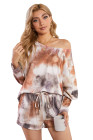 Brown Bat Sleeve Tie-dye Knit Drawstring Lounge Set