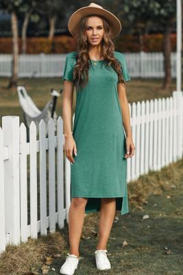فستان كاجوال أخضر قصير الأكمام تي شيرت ميدي بفتحات عالية