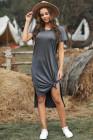 فستان ميدي كاجوال قصير الأكمام رمادي اللون مع انقسامات عالية