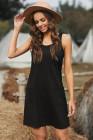 فستان أسود قصير بدون أكمام بجيوب عادية
