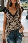 Camiseta sin mangas de leopardo con cuello en V y pestañas