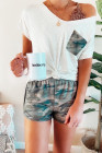 Camo Pocket and Shorts Loungewear Set