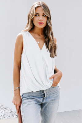 White Surplice V Neck Tank