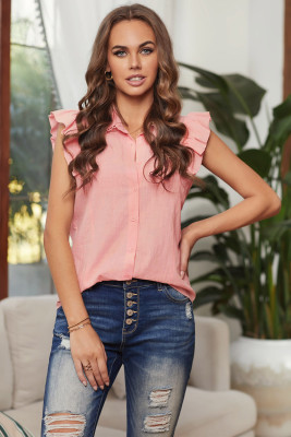 Camisa de lino con volantes y cierre de botones sin mangas rosada