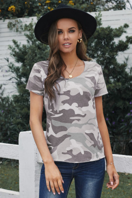 Gray Camouflage Print Short Sleeve Tee