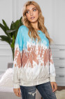 Himmelblaues Farbblock-Batik-Sweatshirt mit Rundhalsausschnitt