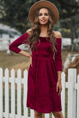 Wine Velvet Off Shoulder Half Sleeve Pleated Midi Dress