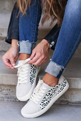 Šedé leopardí Patchworkové ležérní tenisky