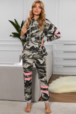Green Camo Print Color Block Pullover Lounge Set