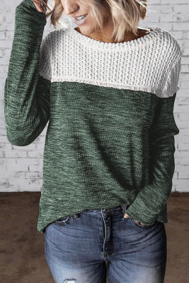 Green Colorblock Crochet Hollow Out Long Sleeve Top