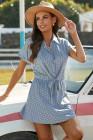 بولكا نقطة طوق القميص فستان قصير الأكمام