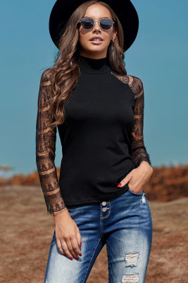 Black High Neck Lace Crochet Long Sleeve Top