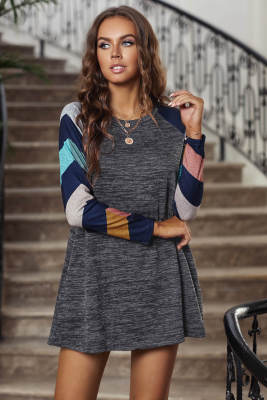 Dark Gray Colorful Striped Long Sleeves Mini Dress
