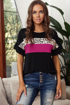 Black Leopard Color Block Short Sleeve Tee