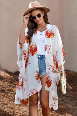Orange Floral Kimono Sleeves Chiffon Loose Beach Cover Up