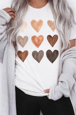 Camiseta blanca con cuello redondo Be Kind Heart