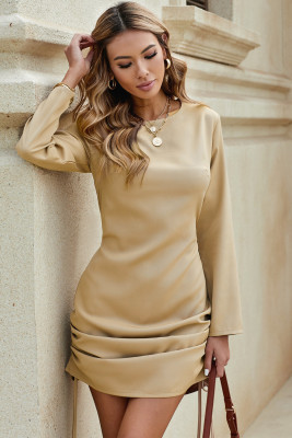 Long Sleeve Drawstring Ruched Mini Dress