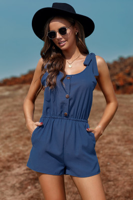 Blue Tie Sleeve Buttons Pocketed Cutie Romper