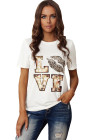 White Crew Neck Cartoon Letter Print Valentine Tee