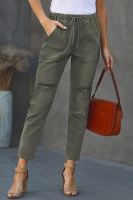 Зеленые джинсовые джоггеры с карманами