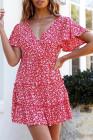 Многослойное платье с оборками и цветочным принтом с V-образным вырезом и короткими рукавами