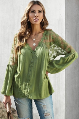Green V Neckline Lace Shoulder Patchwork Blouse