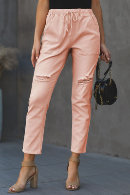 Pink Pocketed Denim Joggers