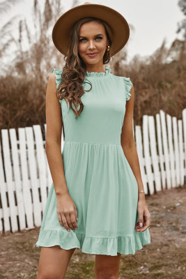 Green Pocketed Ruffle Babydoll Dress
