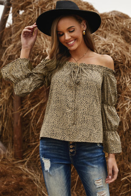 Frilled Off-the-shoulder Cheetah Blouse