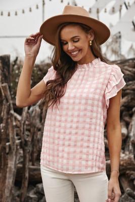 Pink Plaid Rüschen Kurzarm T-Shirt