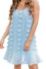 فستان قصير جاكار مكشكش بحمالات سباغيتي أزرق فاتح