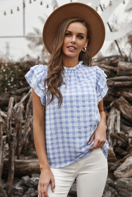 Light Blue Plaid Ruffled Short Sleeves Tee