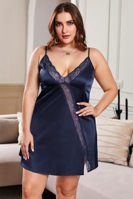 Темно-синее платье Babydoll с кружевной отделкой больших размеров