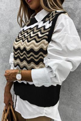 Black Wavy Stripes Strickwesten Pullover