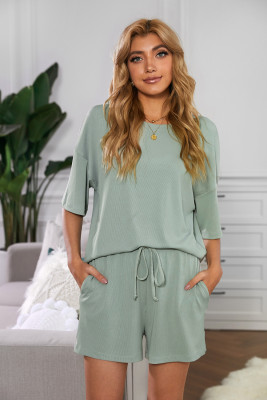 Green Crew Neck Short Sleeve Ribbed Lounge Set
