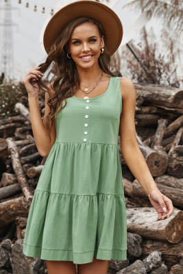 Green Tiered Ruffled Mini Dress
