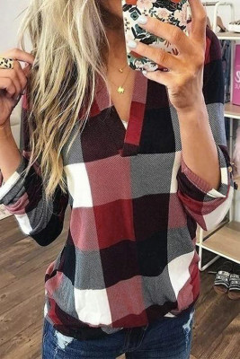 Red Contrast Plaid V Neck Long Sleeve Top