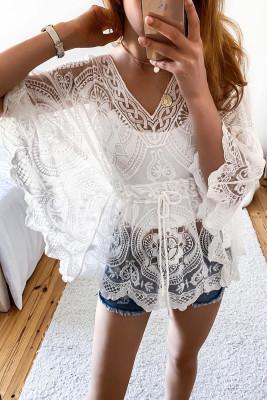 أبيض كيمونو كم الخامس الرقبة فستان الدانتيل الشاطئ