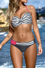 Gray Halter Bandeau Striped Bikini