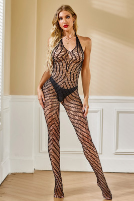 Halter Open Back Chevron Pattern Bodystockings