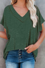 Green Oversized Mineral Wash Cotton Blend V Neck Short Sleeves Top
