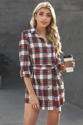 Red Plaid Buttoned Shirt Mini Dress with Waist Tie