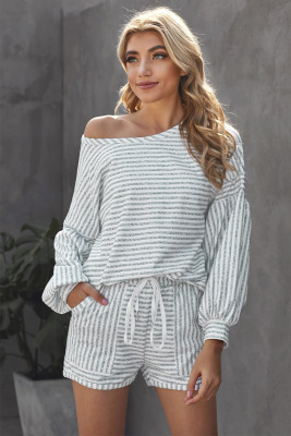Gray Balloon Sleeve Striped Cotton Blend Top & Drawstring Shorts Set