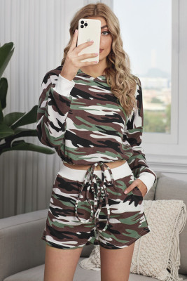 Green Camouflage Cropped Long Sleeve Hoodie & Drawstring Shorts Loungewear Set