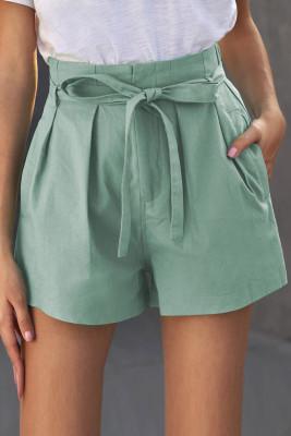Shorts casuales de cintura con lazo verde con bolsillos